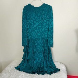 AJ Bari Teal 80's Formal Dress Layers 100% SILK 12